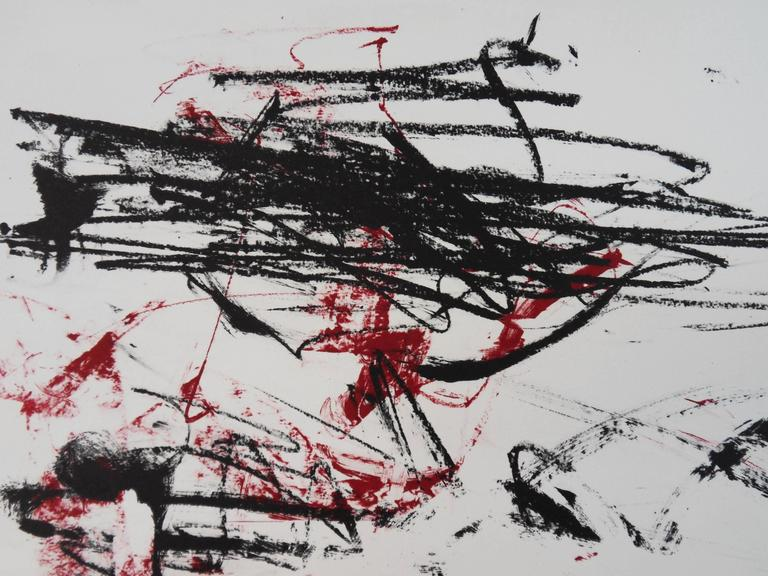 Joan MITCHELL Trees in red (c. 1990)  Original lithograph Pencil signed Limited to 125 copies pencil numbered  On  Arches Vellum 76 x 56 cm (c. 22x30