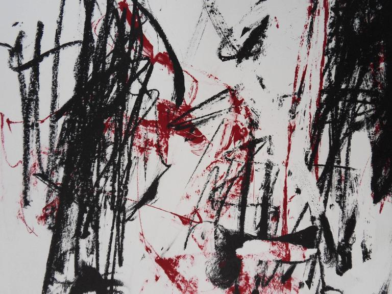 Trees in Red - Original handsigned lithograph - 125 copies - Gray Abstract Print by Joan Mitchell