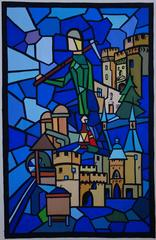 Medieval Scene with a Castle - Original gouache painting - Signed