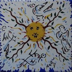 Rising Sun - Original signed ceramic tile - 1954