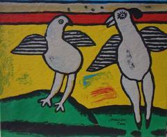 Dancing Birds - Original Handsigned serigraph on canvas - 10 copies