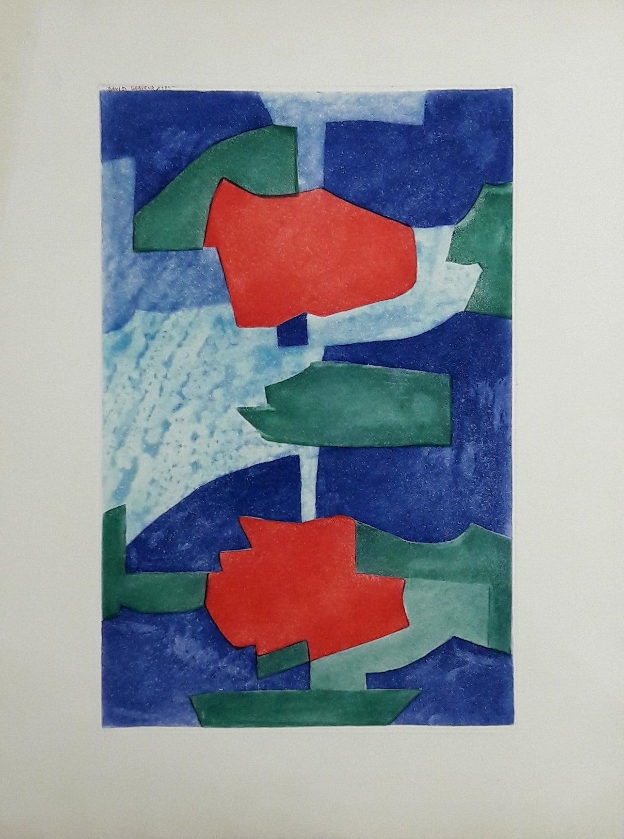 Composition Bleue, Verte et Rouge - Etching - 150 copies