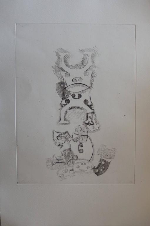 Fernandez Arman Figurative Print - Stacking of bridges - Original etching - 1979