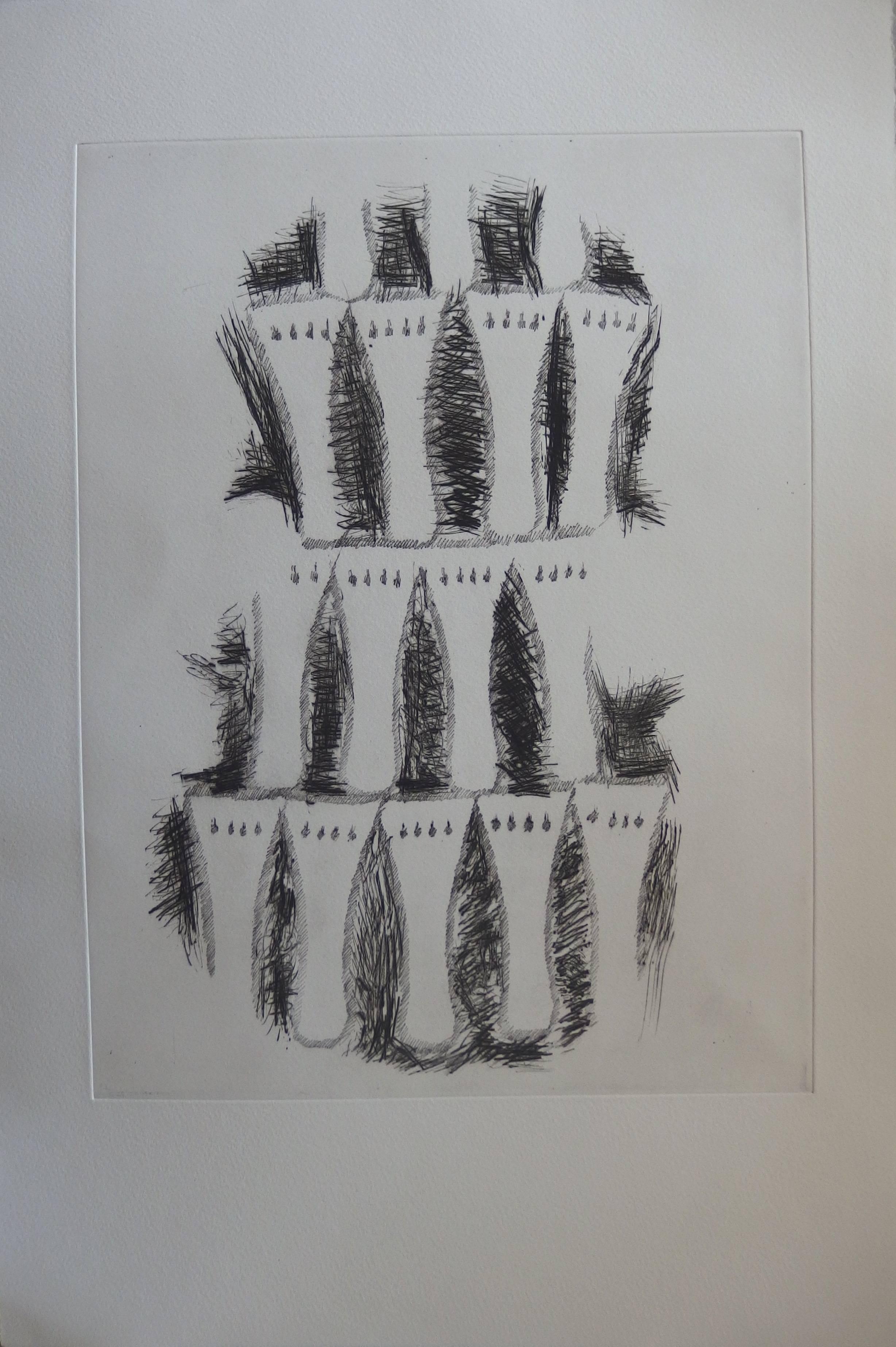 Impression of violin - Original etching - 1979