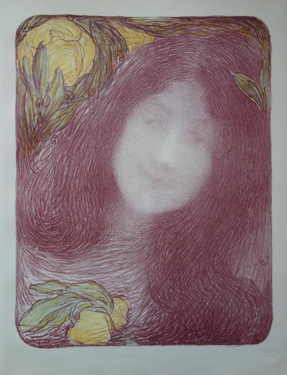 Edmond Aman-Jean Portrait Print - Sous les fleurs - Originale lithograph (1897/98)