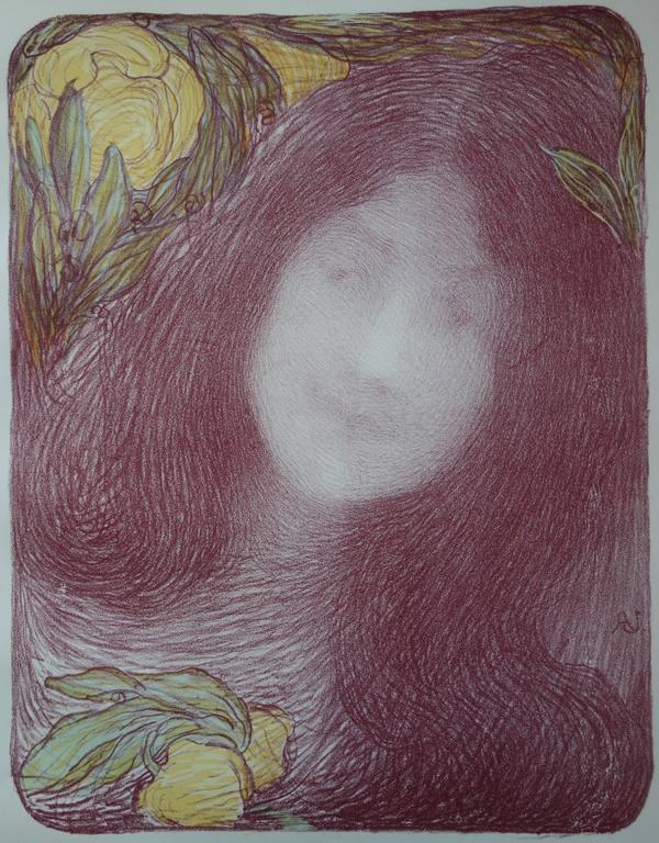 Sous les fleurs - Originale lithograph (1897/98) - Art Nouveau Print by Edmond Aman-Jean