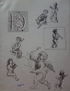 Studies of Angels - Original Ink Drawing - Signed
