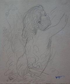Child Picking Fruit - Original Pencil Drawing - Signed