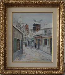 Paris : Winter Day at Montmartre - Original signed gouache painting - Cerificate