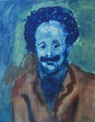 Pablo PICASSO (after) : Man With Mustache - pochoir - 500 copies - 1963