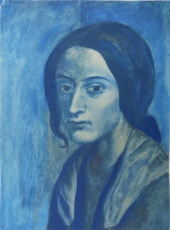 Pablo PICASSO (after) : Portrait in Blue - pochoir - 500 copies - 1963