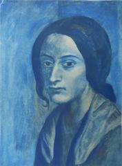 Pablo PICASSO (after) : Portrait in Blue - pochoir - 500 copies - 1963