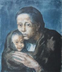 Pablo PICASSO (after) : Blue Period, Maternity - Pochoir - 500 copies - 1963