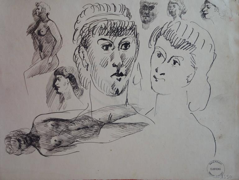 Nude and portrait sketches - Original signed drawing
