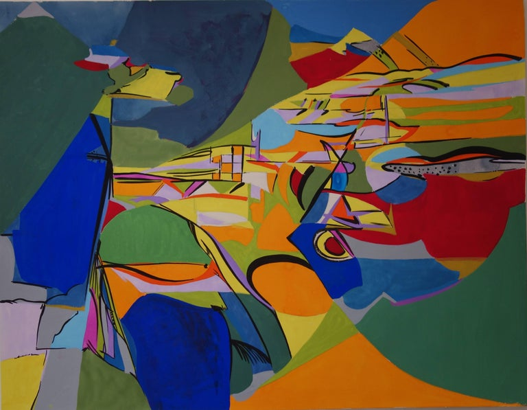 Bernard Herzog Animal Painting - Abstract Landscape - Original gouache and oil painting - Signed c.1969