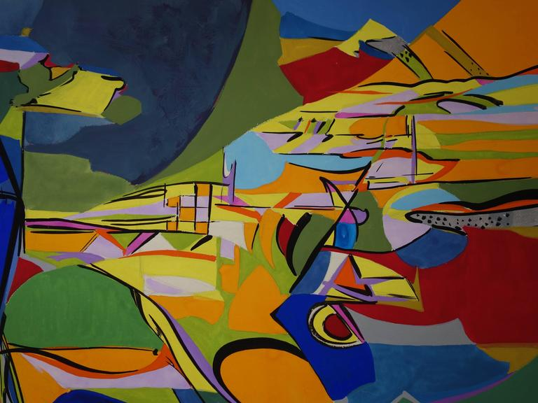 Abstract Landscape - Original gouache and oil painting - Signed c.1969 - Abstract Geometric Painting by Bernard Herzog
