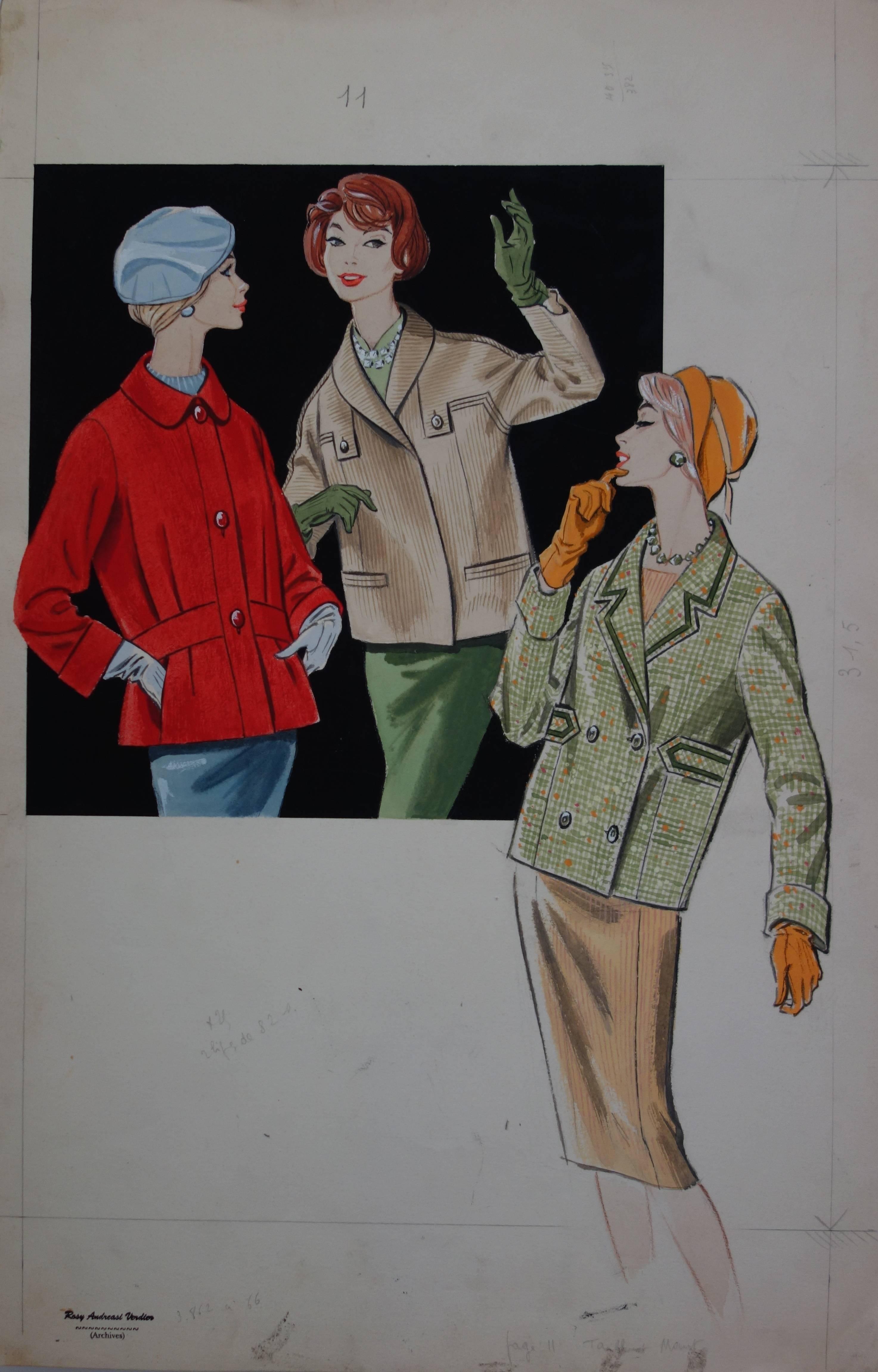 Mode drawing : Three Elegant Women - Original watercolor and gouache drawing