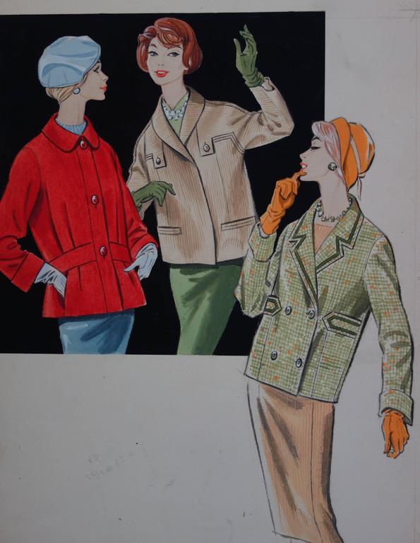 Mode drawing : Three Elegant Women - Original watercolor and gouache drawing - Art by Rosy Andreasi-Verdier