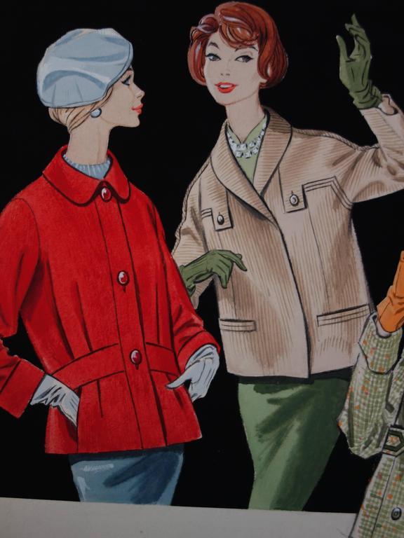 Mode drawing : Three Elegant Women - Original watercolor and gouache drawing - Gray Figurative Art by Rosy Andreasi-Verdier