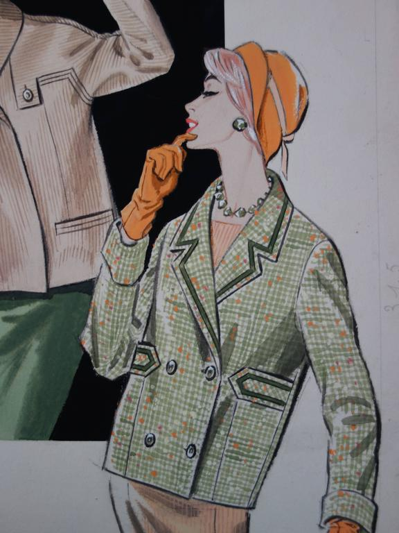 Mode drawing : Three Elegant Women - Original watercolor and gouache drawing - Realist Art by Rosy Andreasi-Verdier
