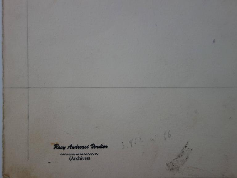 Rosy ANDREASI-VERDIER (1934-2015) Mode drawing : Three Elegant Women  Original gouache and watercolor drawing Bears the
