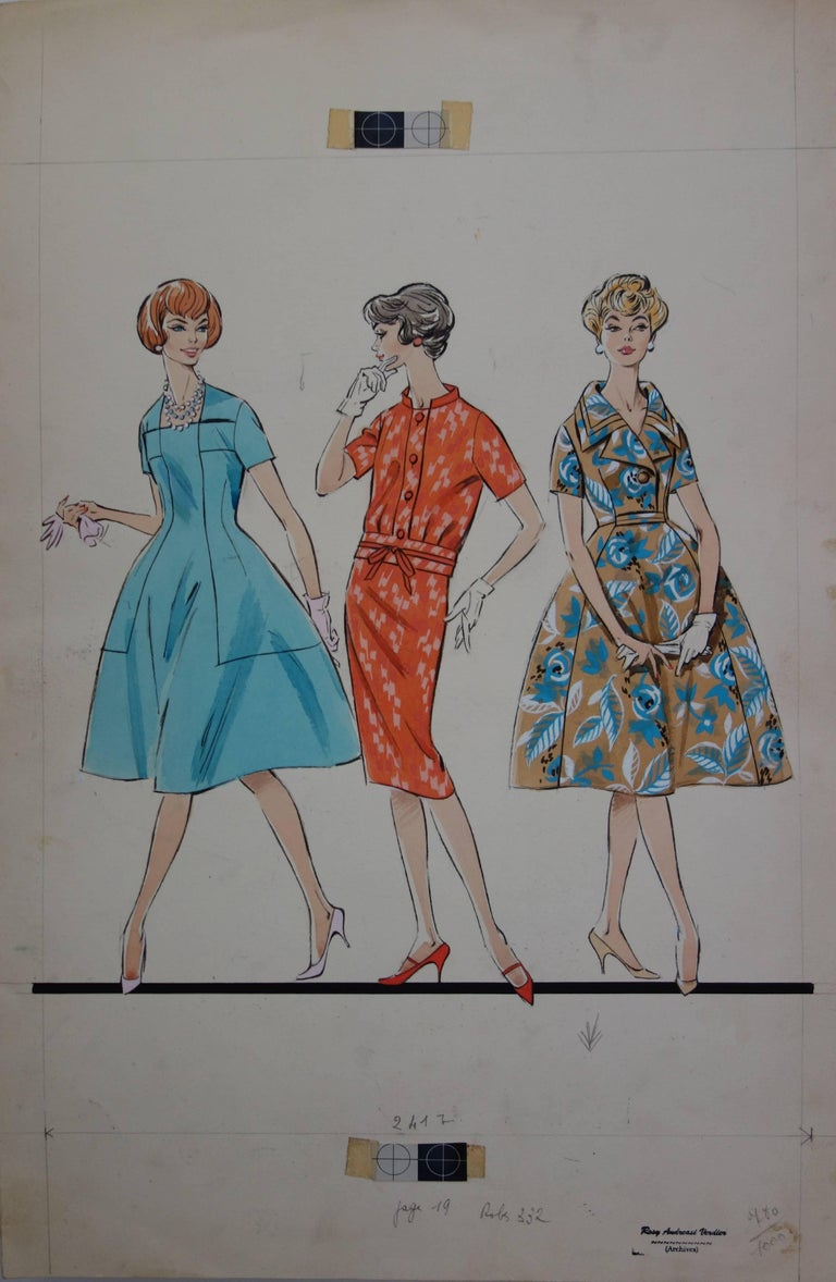 Rosy Andreasi-Verdier Figurative Art - Mode Drawing : Three Dresses for Spring - Original watercolor & Gouache drawing