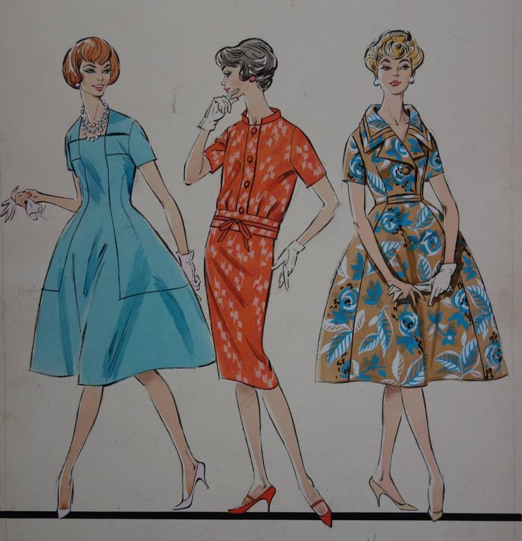 Mode Drawing : Three Dresses for Spring - Original watercolor & Gouache drawing - Realist Art by Rosy Andreasi-Verdier