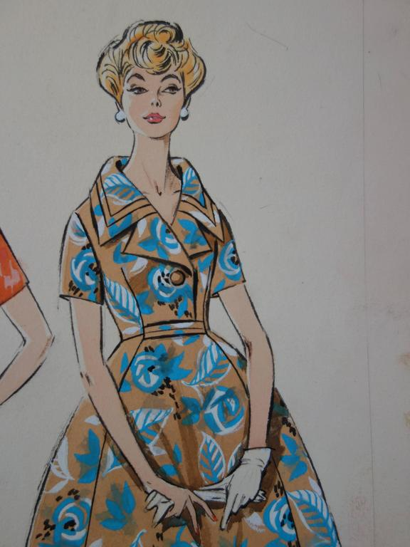 Mode Drawing : Three Dresses for Spring - Original watercolor & Gouache drawing - Gray Figurative Art by Rosy Andreasi-Verdier