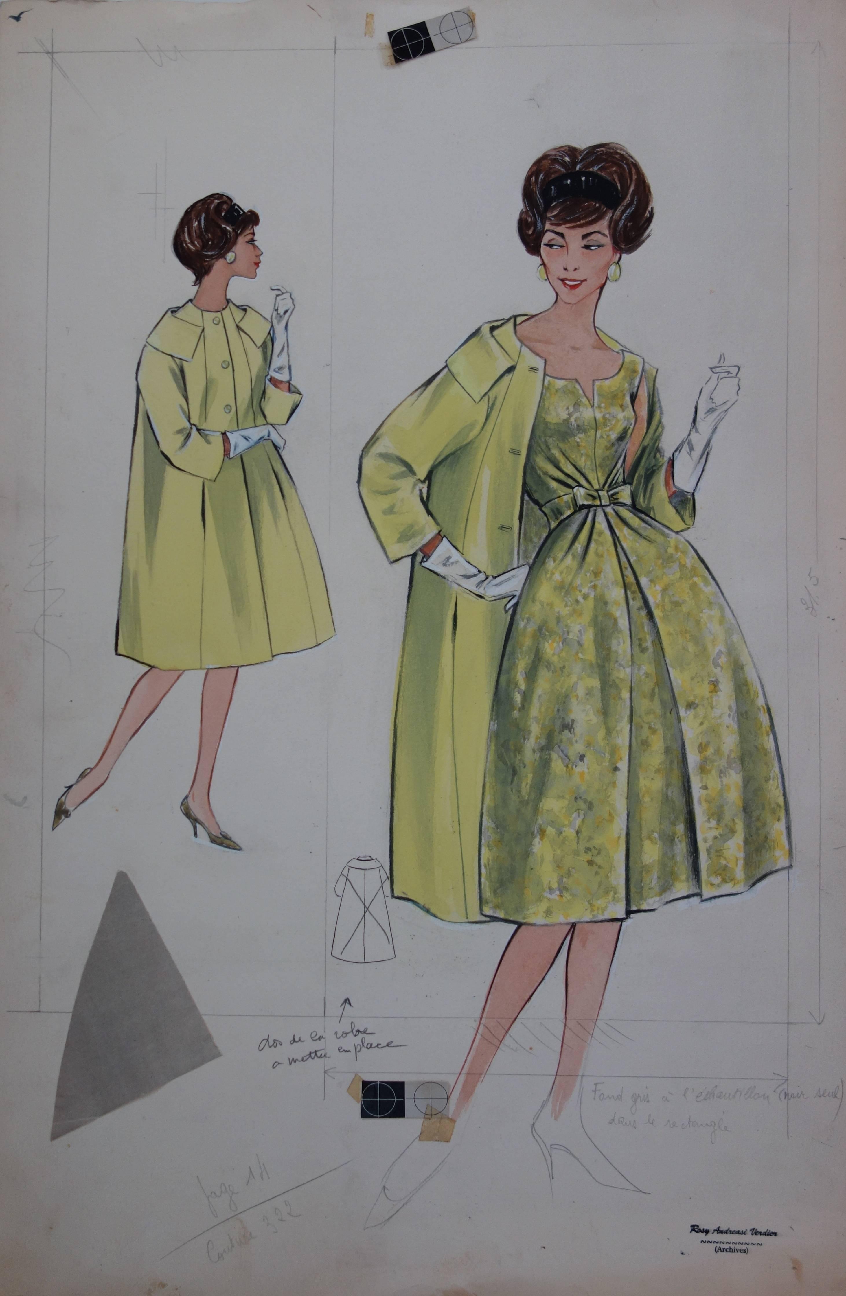 Mode Drawing : Yellow Coat and Dress - Original watercolor & Gouache drawing