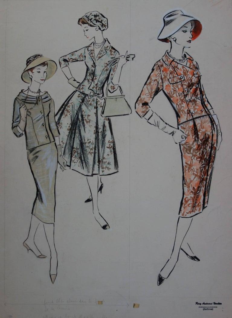Rosy Andreasi-Verdier Figurative Art - Mode Drawing : Three Colorful Dresses - Original watercolor & Gouache drawing