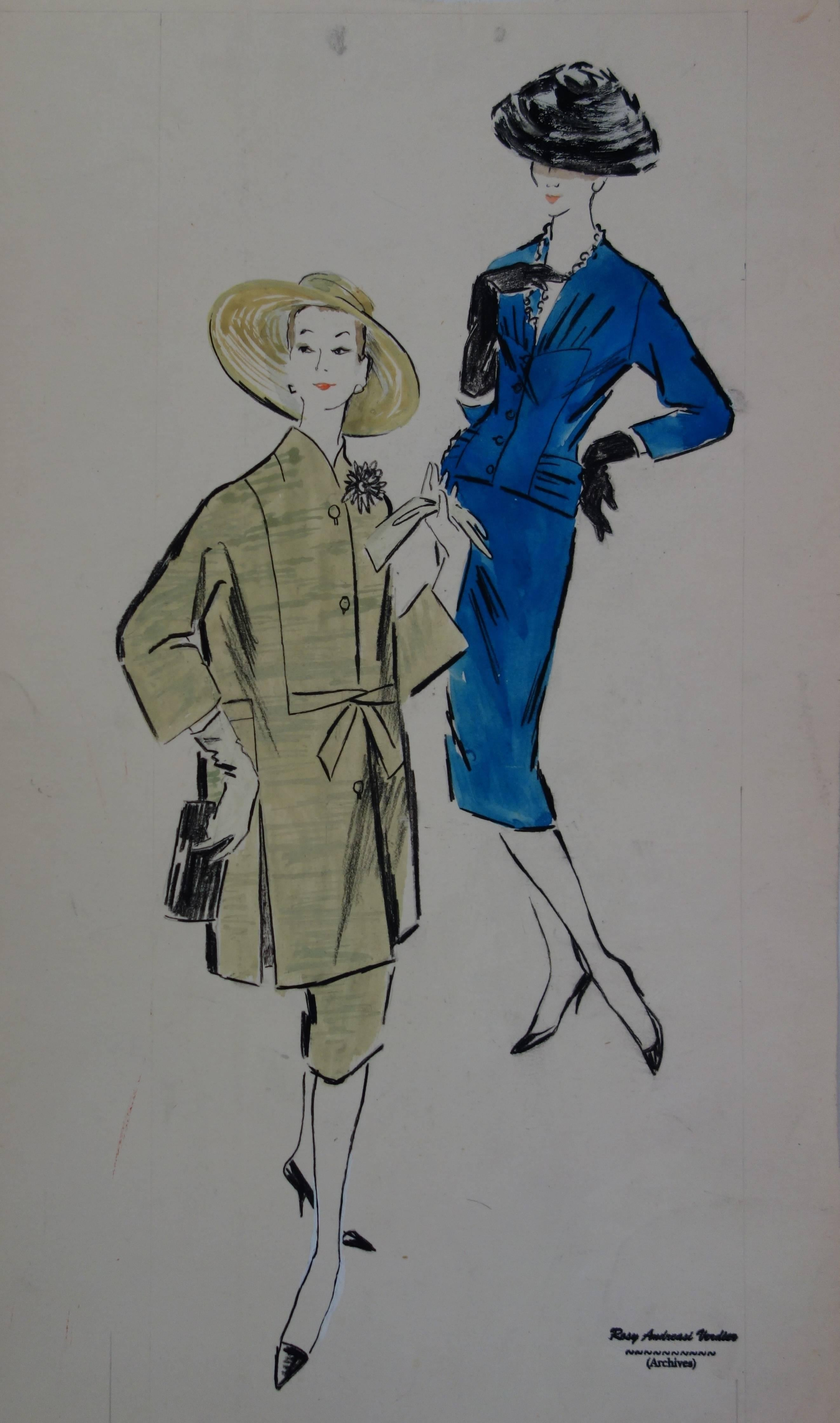 Mode Drawing : Green and Blue Dresses - Original watercolor & Gouache drawing