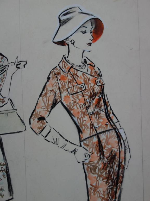 Mode Drawing : Three Colorful Dresses - Original watercolor & Gouache drawing - Gray Figurative Art by Rosy Andreasi-Verdier
