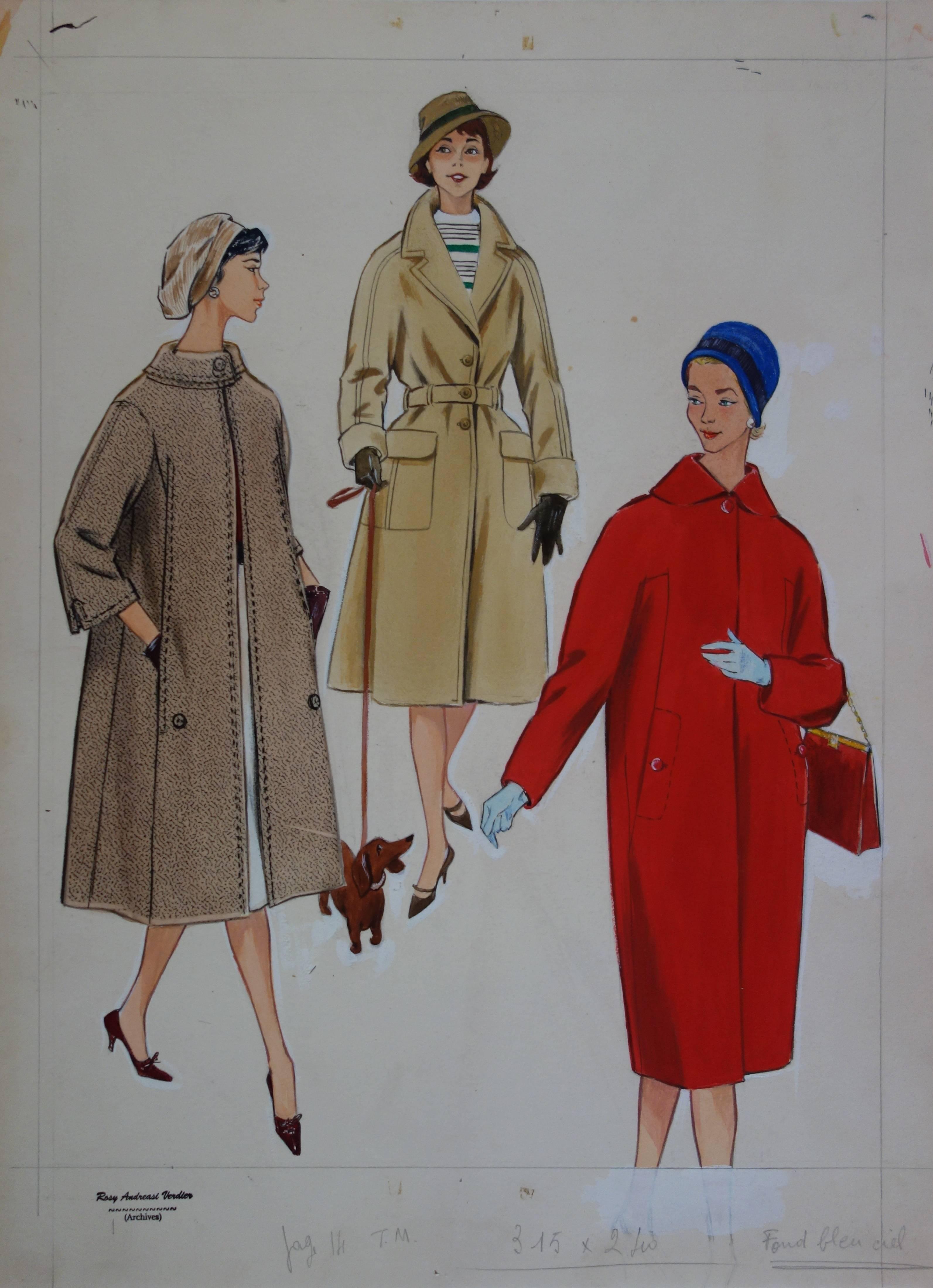 Mode Drawing : Three Elegant Coats - Original watercolor & Gouache drawing