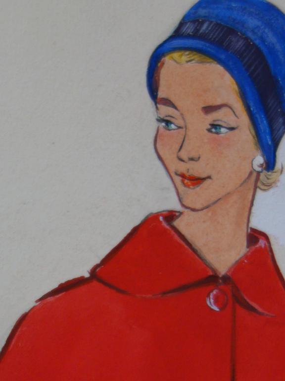Mode Drawing : Three Elegant Coats - Original watercolor & Gouache drawing For Sale 1