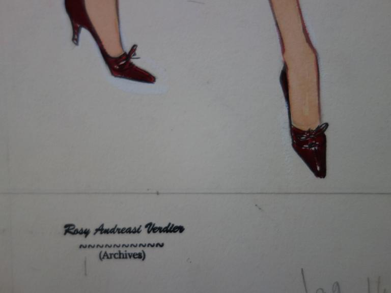 Mode Drawing : Three Elegant Coats - Original watercolor & Gouache drawing - Art by Rosy Andreasi-Verdier