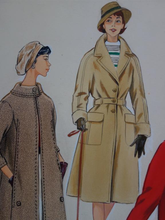 Mode Drawing : Three Elegant Coats - Original watercolor & Gouache drawing - Realist Art by Rosy Andreasi-Verdier