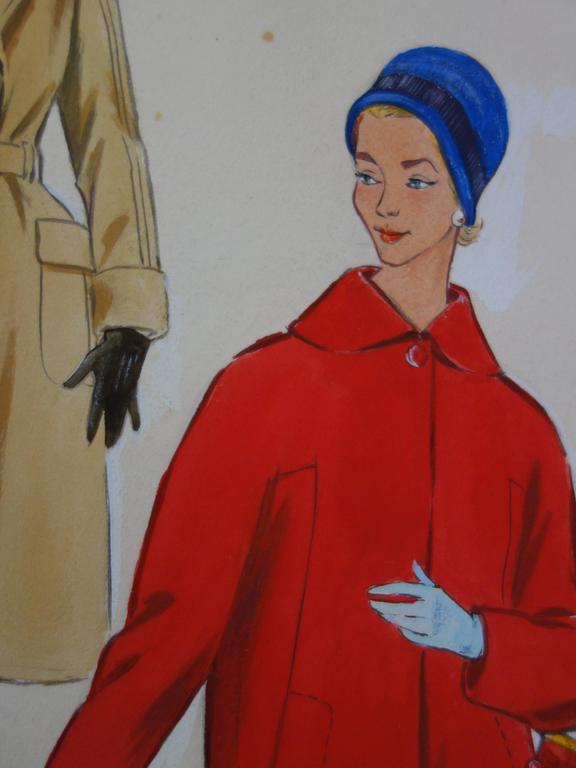 Rosy ANDREASI-VERDIER (1934-2015) Mode drawing : Three Elegant Coats  Original gouache and watercolor drawing Bears the