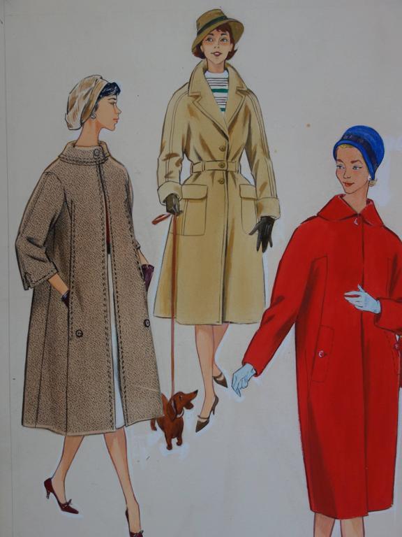 Mode Drawing : Three Elegant Coats - Original watercolor & Gouache drawing - Gray Figurative Art by Rosy Andreasi-Verdier