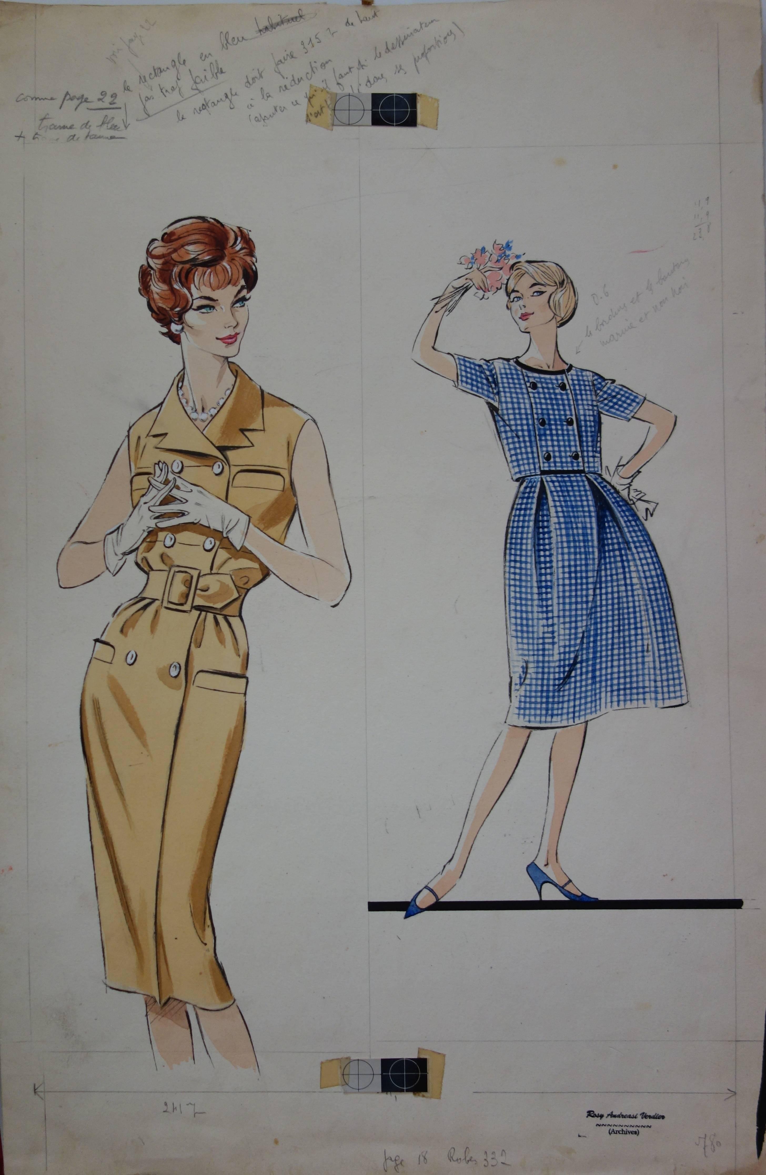 Mode Drawing : Elegant Short Dresses - Original watercolor & Gouache drawing