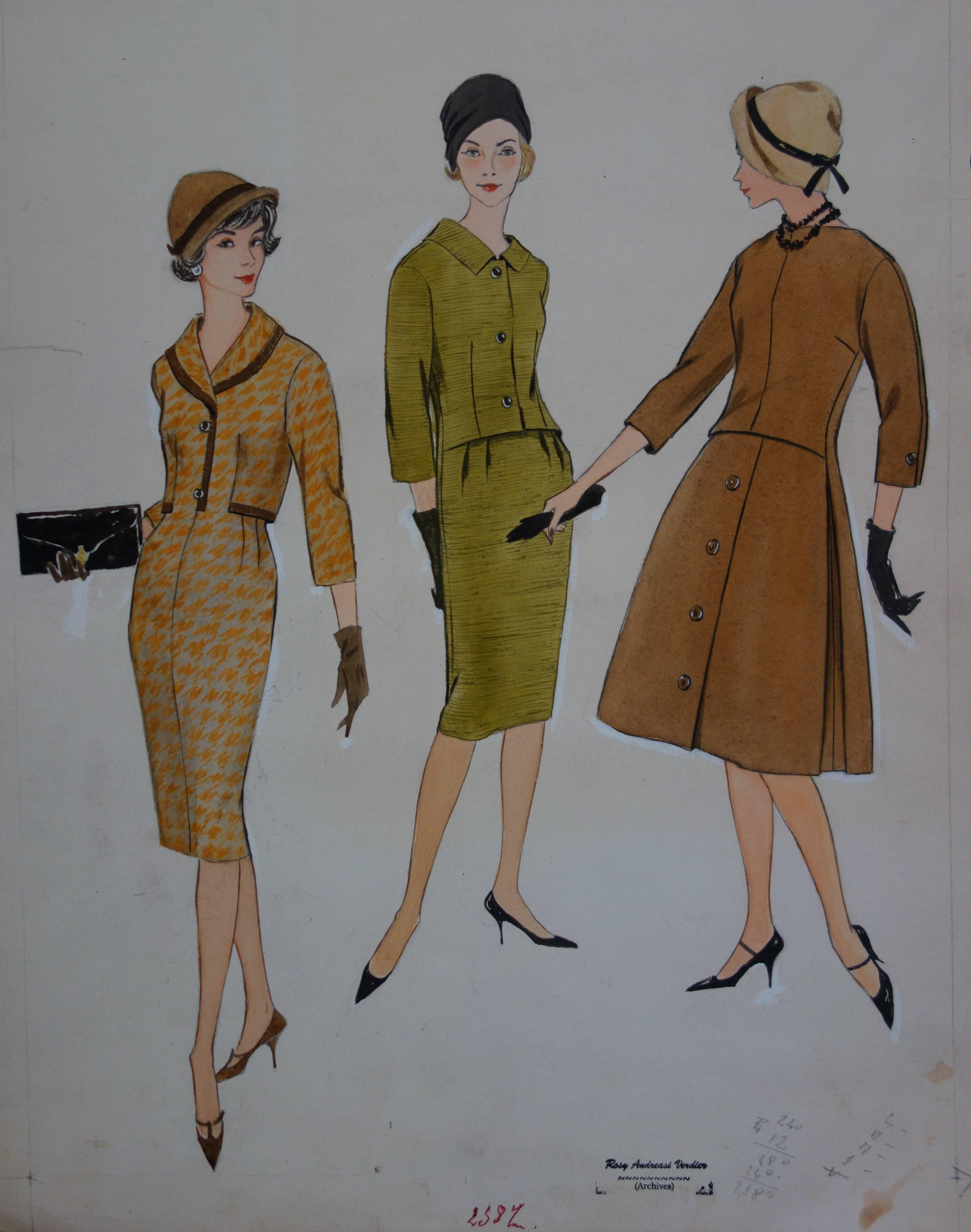 Mode Drawing : Fall Elegant Dresses - Original watercolor & Gouache drawing