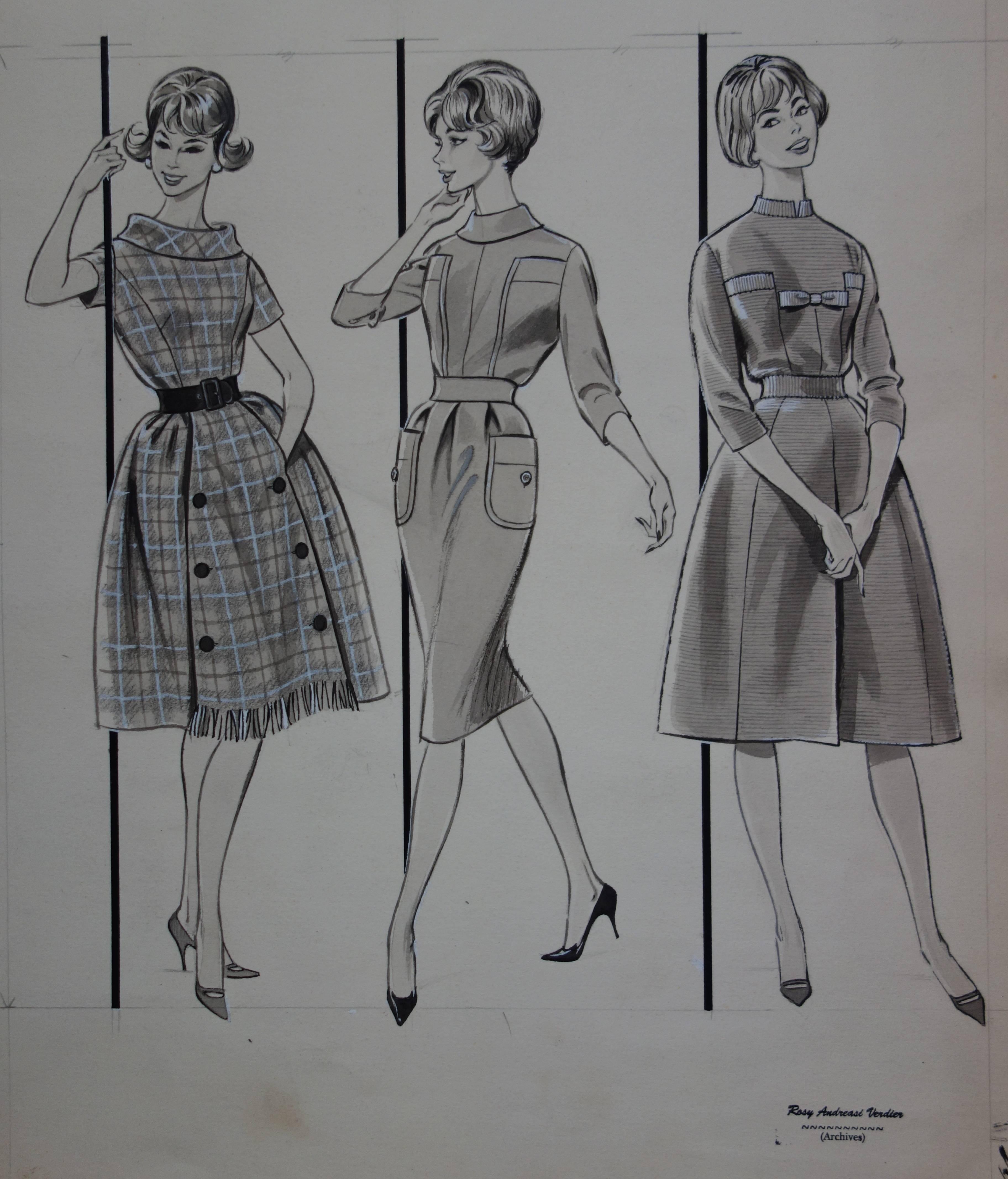 Mode Drawing : Three Classical Dresses - Original watercolor & Ink drawing