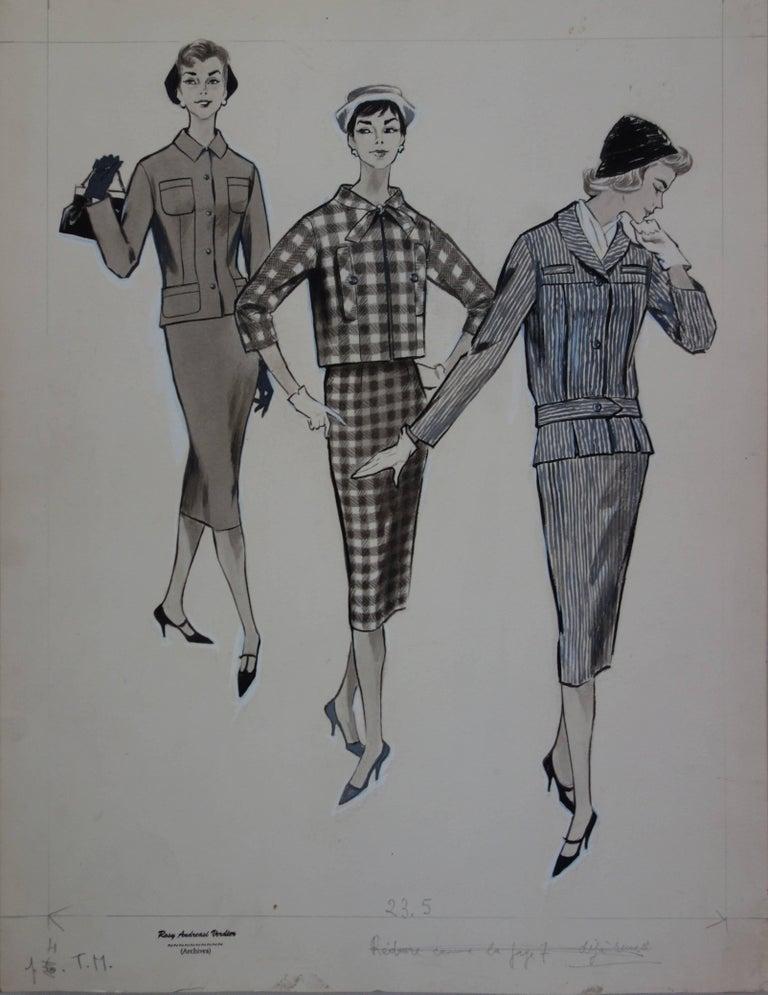 Rosy Andreasi-Verdier Figurative Art - Mode Drawing : Three Elegant Cutters - Original watercolor & ink drawing