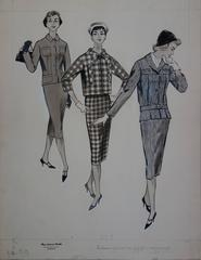 Mode Drawing : Three Elegant Cutters - Original watercolor & ink drawing