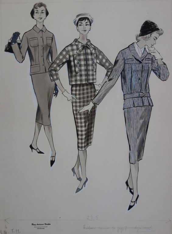 Rosy ANDREASI-VERDIER (1934-2015) Mode drawing : Three Elegant Cutters  Original ink and watercolor drawing Bears the
