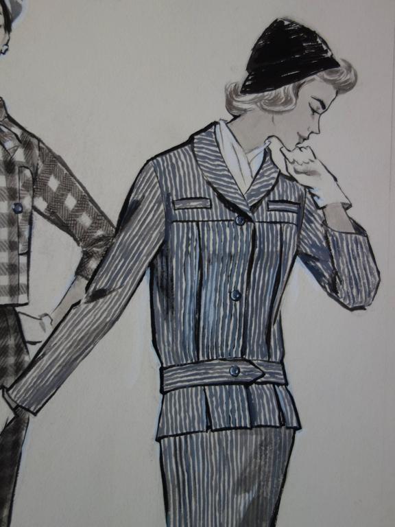 Mode Drawing : Three Elegant Cutters - Original watercolor & ink drawing - Gray Figurative Art by Rosy Andreasi-Verdier