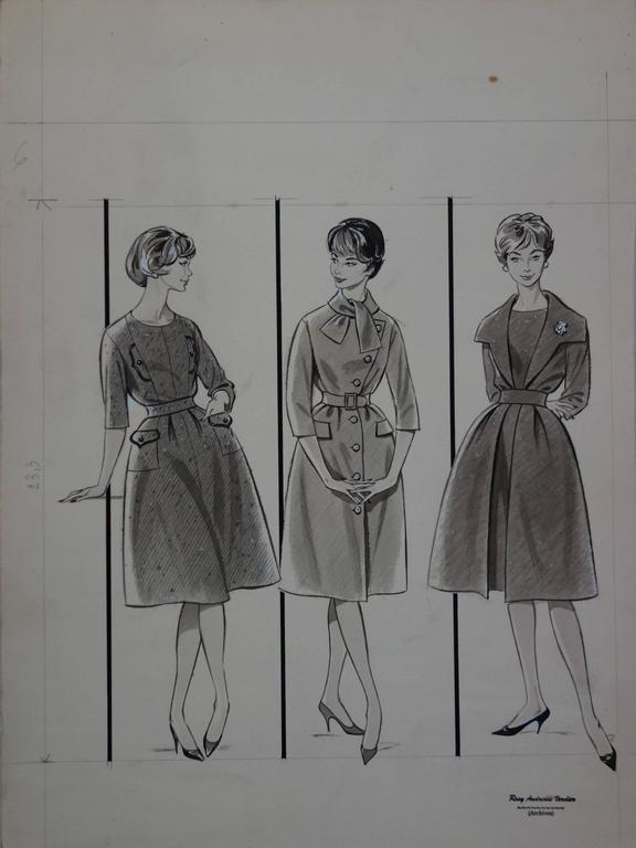 Mode Drawing : Three Dresses with Bell - Original watercolor & Ink drawing - Realist Art by Rosy Andreasi-Verdier