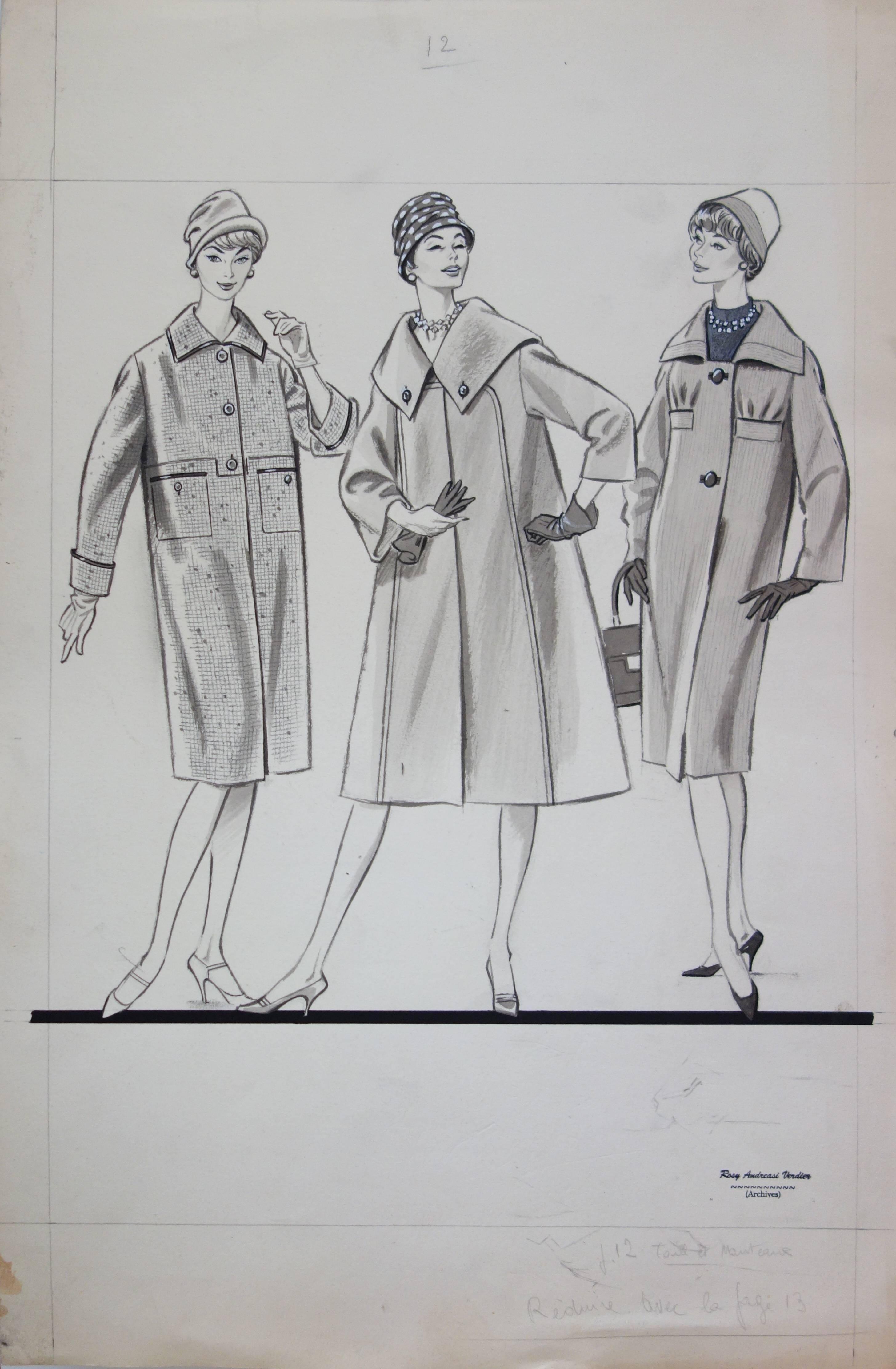 Mode Drawing : Three Long Coats - Original watercolor & ink drawing