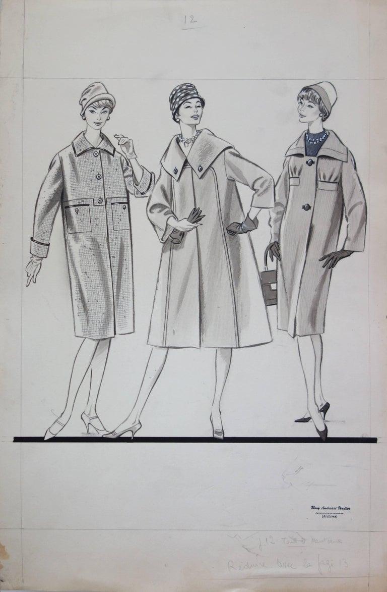 Rosy Andreasi-Verdier Figurative Art - Mode Drawing : Three Long Coats - Original watercolor & ink drawing