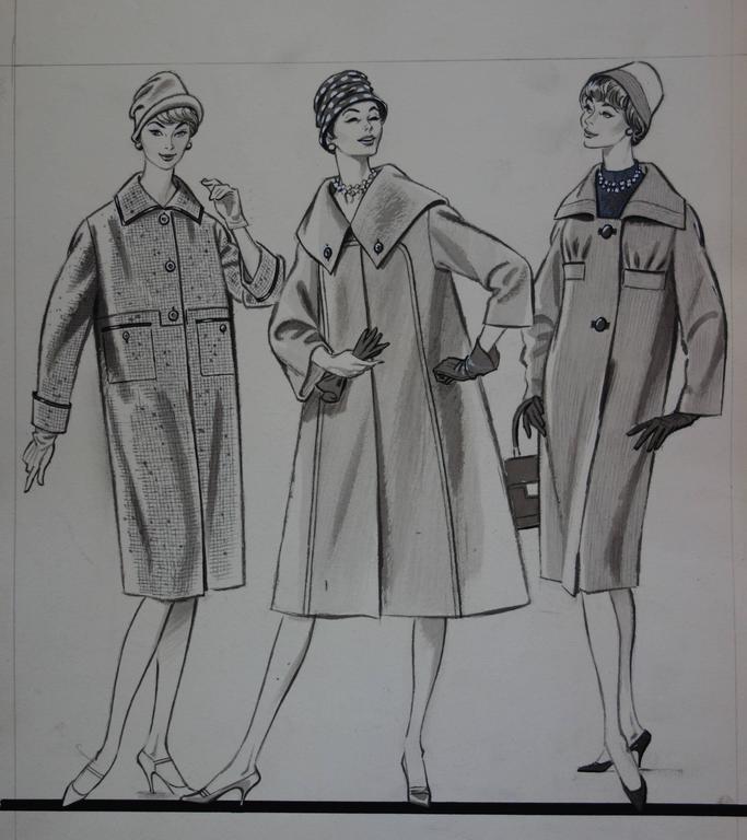 Mode Drawing : Three Long Coats - Original watercolor & ink drawing - Realist Art by Rosy Andreasi-Verdier