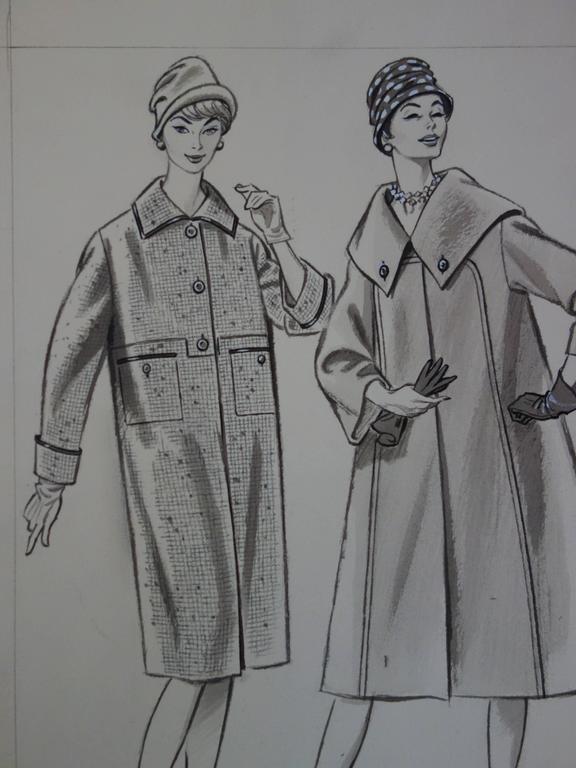 Mode Drawing : Three Long Coats - Original watercolor & ink drawing - Gray Figurative Art by Rosy Andreasi-Verdier